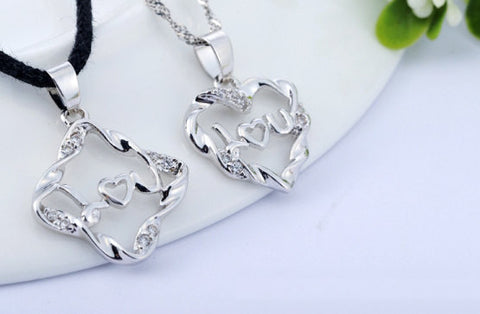 Silver Pendant Valentines Day Heart I Love You Charm Wholesale