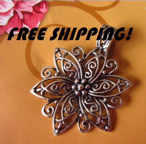 3pcs Lot Antiqued Silver Flower Pendant Extra Large | Statement Wholesale Charms - 1PROY Driftwood & Healing Stones