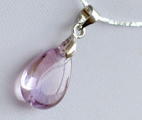 Amethyst Pendant - Small Super Clear Drop | Healing Crystal and Stones - 1PROY Driftwood & Healing Stones