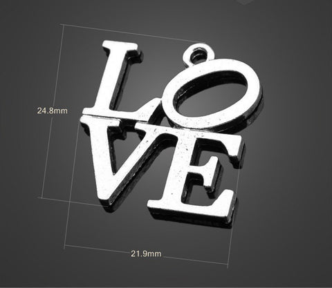 25pcs Antique Silver Pendant LOVE Charm - Valentine's Day Wholesale Charms