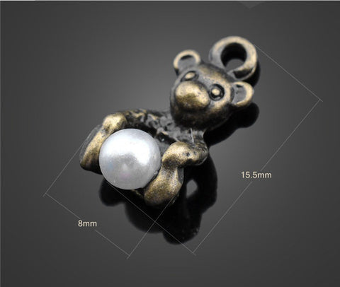 Cute Bronze Bear Pendants & Pearl Vintage | Wholesale Charms Supplies - 1PROY Driftwood & Healing Stones