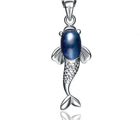 Silver Pendant Sapphire Cute Fish | Wholesale Sterling Charms