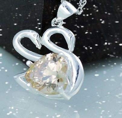 Silver Pendant Heart Zircon Swan | Wholesale Charms Jewelry DIY