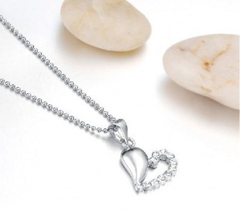Pure Silver Pendant | Valentines Heart Zircon | Wholesale Charms - 1PROY Driftwood & Healing Stones
