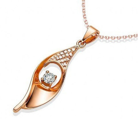 Leaf Rose Gold Zircon Pendant | Wholesale Valentines Charms