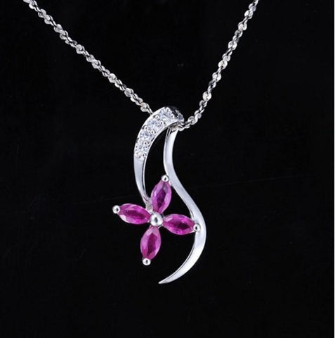 Sterling Silver Ruby Flower Pendant | Wholesale Valentines Charms DIY