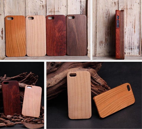 Sapele Phone Case, One-piece Wood Protective Case for iPhone 5 5S