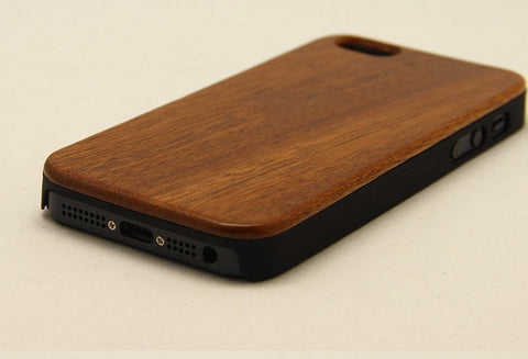 Sapele Phone Case, One-piece Wood Protective Case for iPhone 5 5S - 1PROY Driftwood & Healing Stones