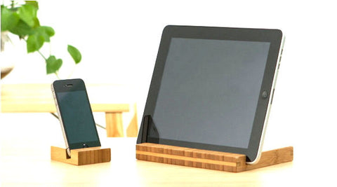 Bamboo smart phone stand, iPhone / tablet dock, handmade wood iPhone 4 4S 5 5S accessories - 1PROY Driftwood & Healing Stones