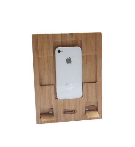 Bamboo iPad and iPhone stand | handmade wood tablet stand for iPad Air Mini 4, iPhone 5 5S 4 4S, Samsung