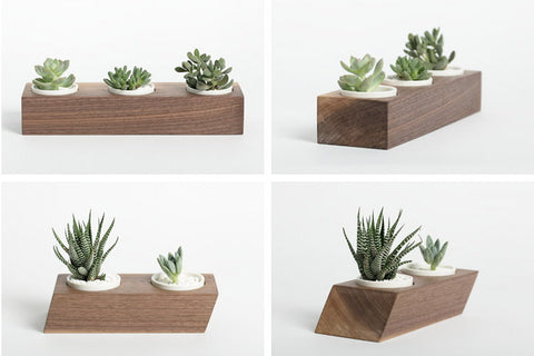 Wood Planter - Walnut Double Triple | Minimalist Home Decor Ideas