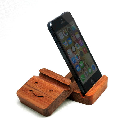 Padouk wood phone stand with Smiley for iPhone 5 5S 4 4S, Samsung - 1PROY Driftwood & Healing Stones