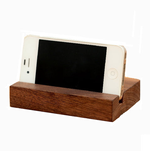 Rectangular walnut iPad stand, handcrafted wood docking station for tablets, Samsung, iPad...