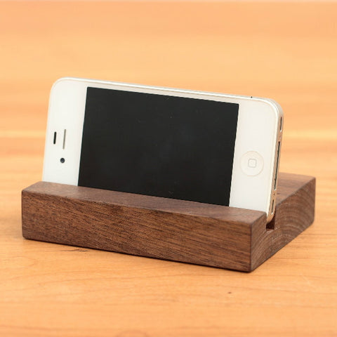 Rectangular walnut iPad stand, handcrafted wood docking station for tablets, Samsung, iPad... - 1PROY Driftwood & Healing Stones