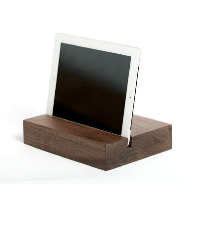 Walnut iPad Stand - Rectangular | Wood Tablet & Phone Docking Station