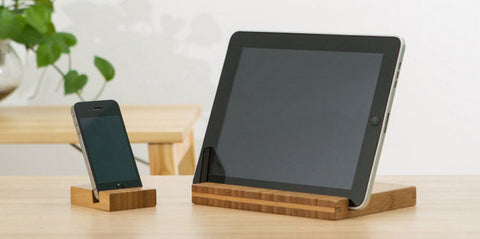 Bamboo stand for iPad Air Mini 4 3 2, iPhone 4 4S 5 5S, Samsung... - 1PROY Driftwood & Healing Stones