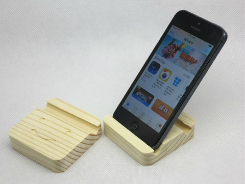Pinewood phone stand, handmade wood iPhone docking station for 5 5S 4S 4, Samsung etc