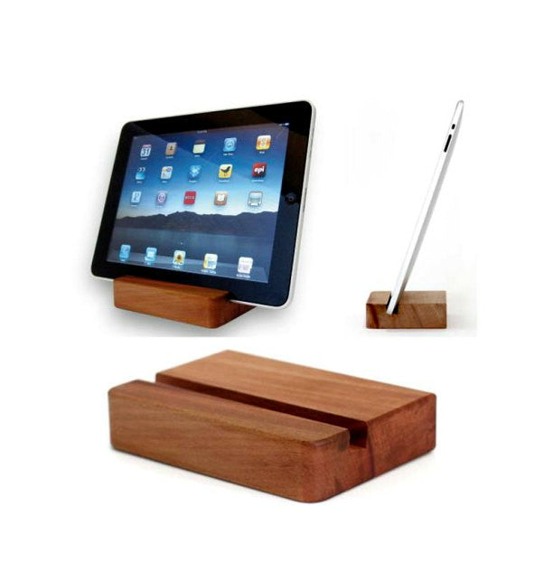Cherry | Walnut Wood iPad stand, tablet docking station for iPhone, Samsung etc. - 1PROY Driftwood & Healing Stones