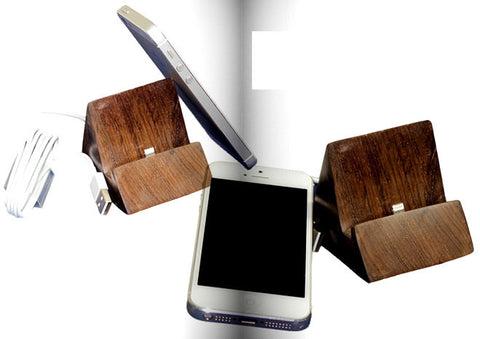 Handcrafted Sandal iPhone 5 5S Stand | Wood iPad Docking Station - 1PROY Driftwood & Healing Stones
