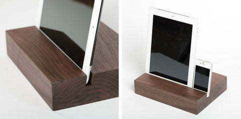 Walnut iPad Stand - Rectangular | Wood Tablet & Phone Docking Station - 1PROY Driftwood & Healing Stones