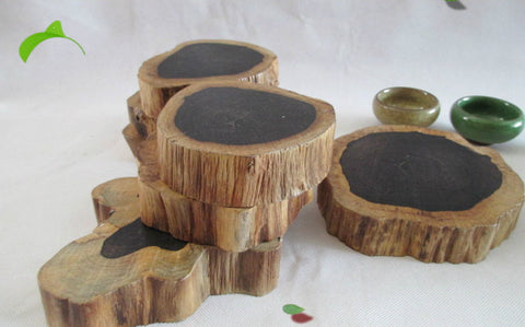 Set of 2 wood coaster, rustic sandalwood coasters extra thick houseware kitchenware