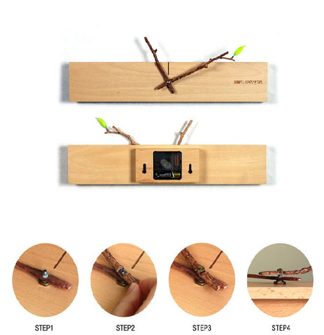 Unique Minimalist Wood Wall Clock | Modern Home Decor Gift Ideas - 1PROY Driftwood & Healing Stones