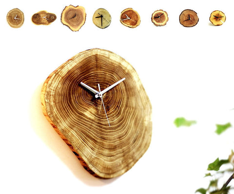 Rustic wood log wall clock | unique minimalist home decor gift ideas