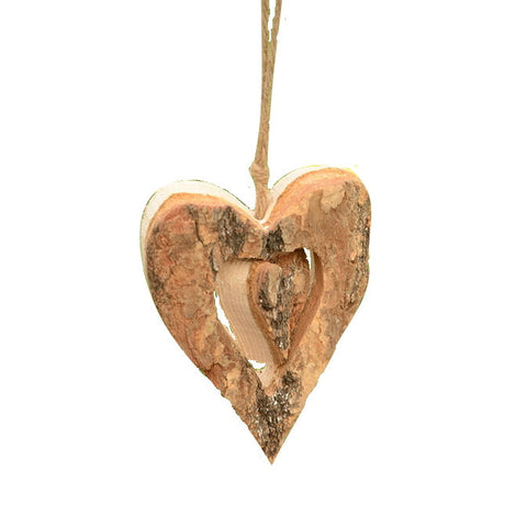 Set of 6 rustic weddings decorations- wood two-hearts wedding decor gift ideas
