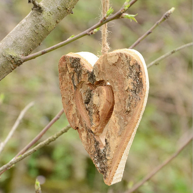 Country Wedding Gift Ideas: Set Of 6 Rustic Weddings Decorations- Wood Two-hearts