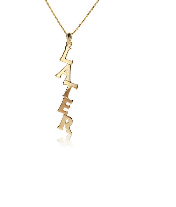 Vertical Name Necklace | Personalized Silver / Gold Signature Pendants - 1PROY Driftwood & Healing Stones
