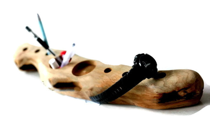 Driftwood Pen Holder | Primitive Wood Home Decor | Office Desk Accessories - 1PROY Driftwood & Healing Stones