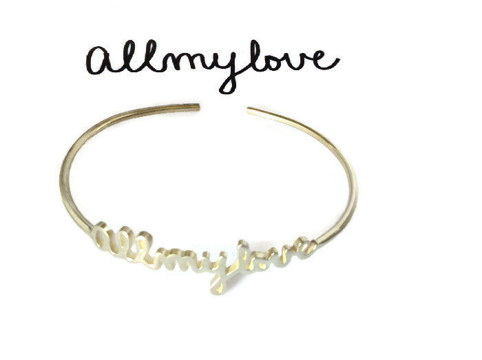 Personalized Signature Cuffs | Custom Silver or Gold Name Bangles - 1PROY Driftwood & Healing Stones