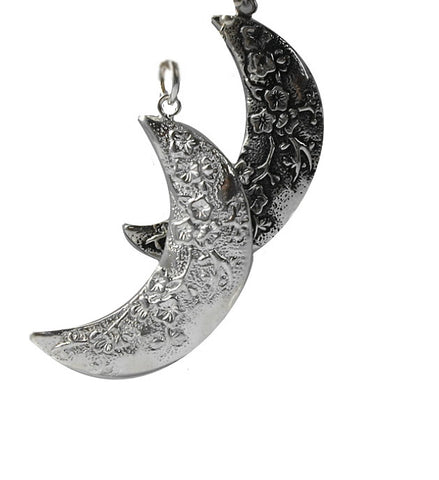 Handcrafted Silver Pendant Crescent Moon Flower | Wholesale Charms