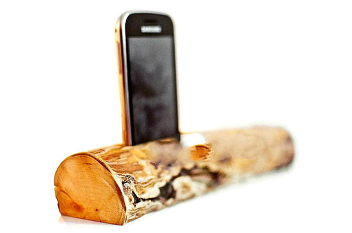 Wood Log iPhone 5 5S 4S 4 Stand | Handcrafted Docking Station for Samsung
