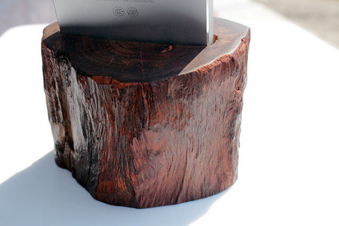 Acoustic Amp for iPhone Nexus - Rose Wood Handcrafted Speaker Stand - 1PROY Driftwood & Healing Stones