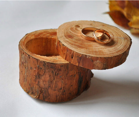 Custom Wood Engagement Rings Box - Gift Presentation Ideas - 1PROY Driftwood & Healing Stones