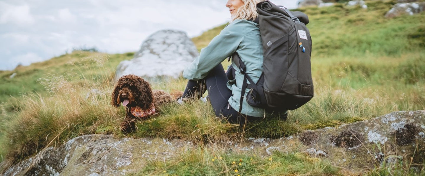 Adventure Pins on rucksack in the Peak District