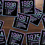 1999! Hologram Birth Year Sticker - Dan Pearce Sticker Shop