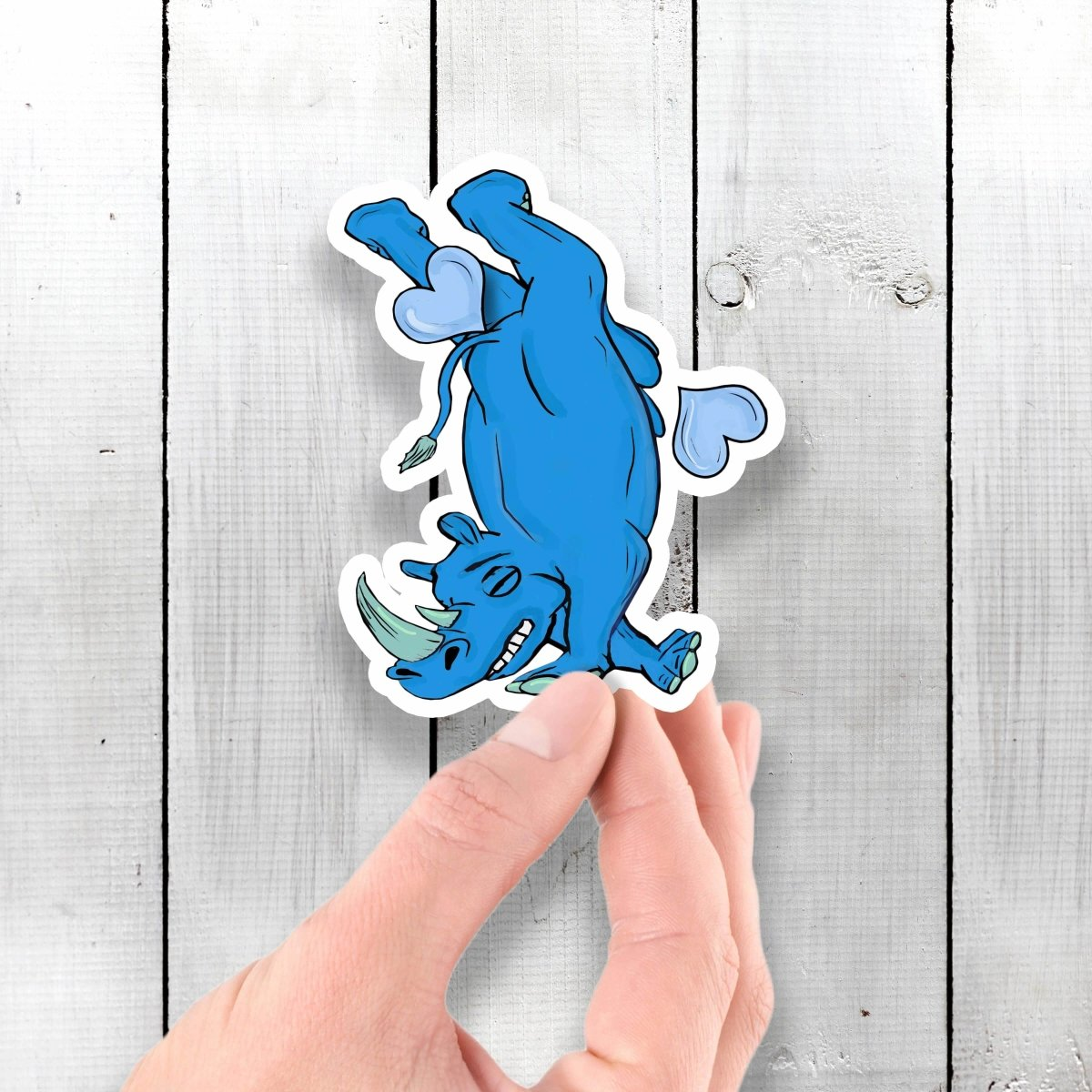 Breakdancing/Tripping Rhino - Vinyl Sticker - Dan Pearce Sticker Shop