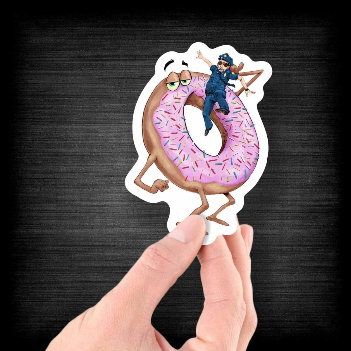 Donut Eating a Cop - Vinyl Sticker - Dan Pearce Sticker Shop
