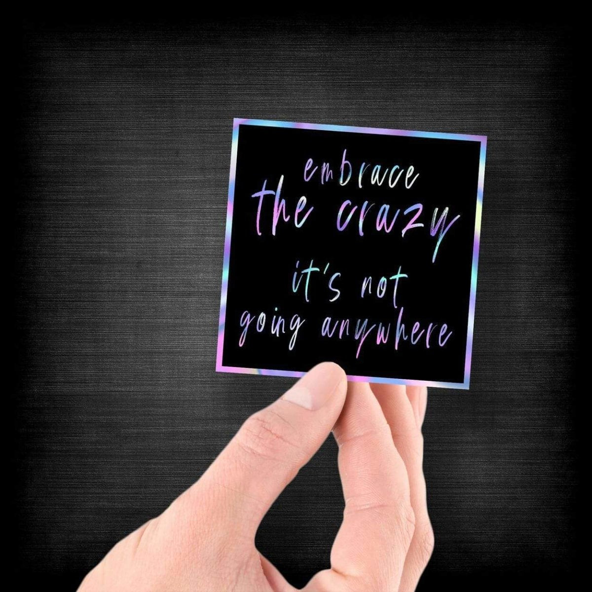 Embrace the Crazy - It's Not Going Anywhere - Hologram Sticker - Dan Pearce Sticker Shop