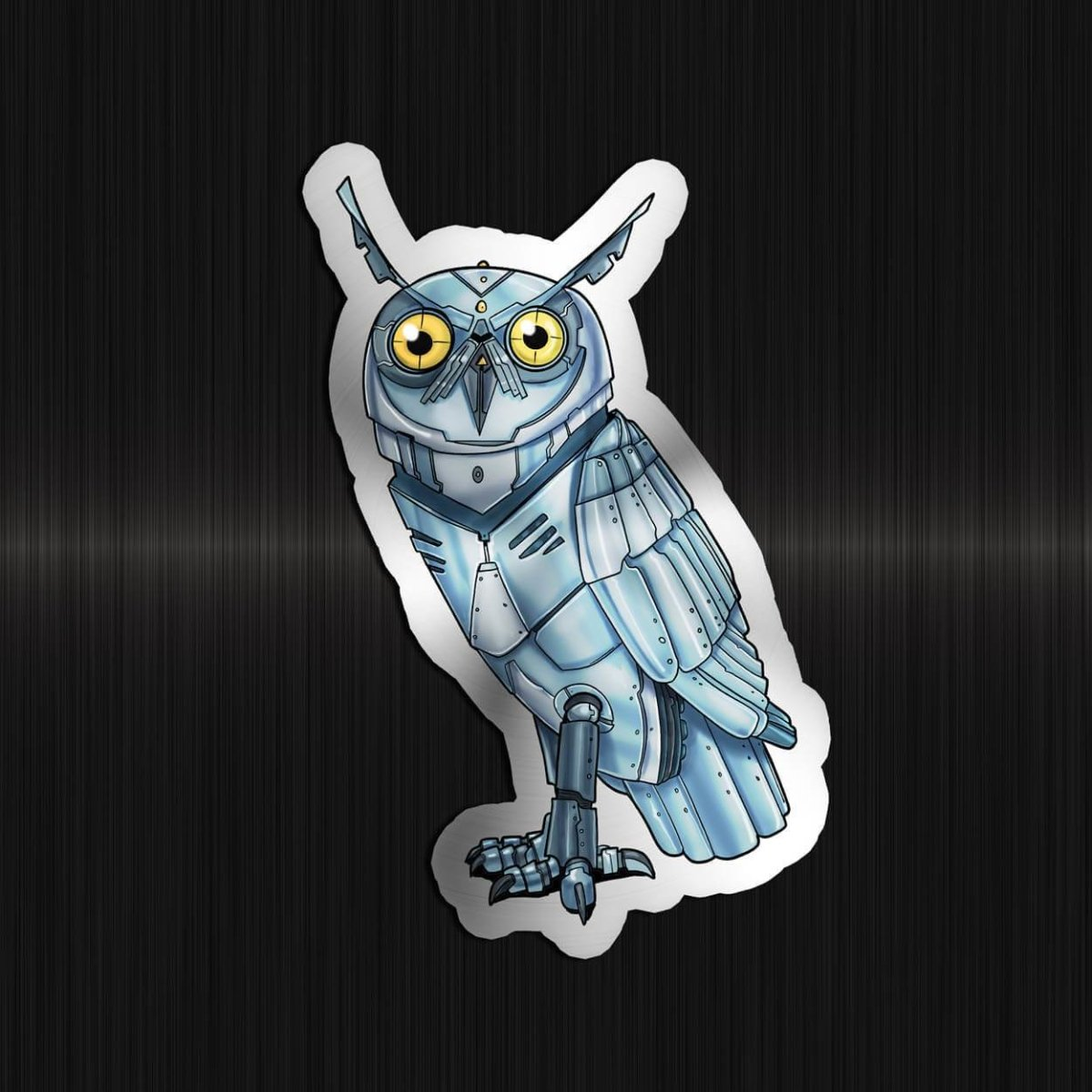 Owl Robot - Special Foil Sticker - Dan Pearce Sticker Shop