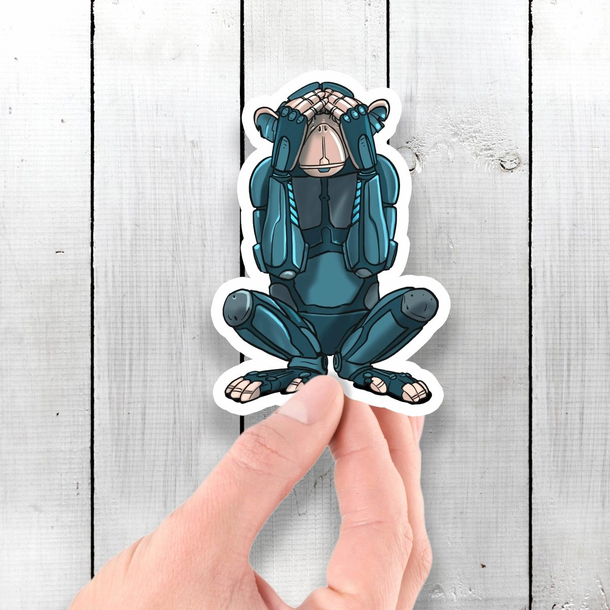 See No Evil Monkey Robot - Vinyl Sticker - Dan Pearce Sticker Shop