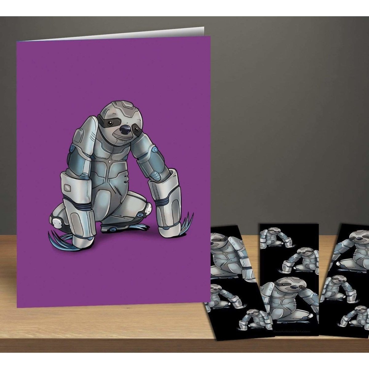 Sloth Robot Greeting Card & Bookmark Combo Pack - Dan Pearce Sticker Shop