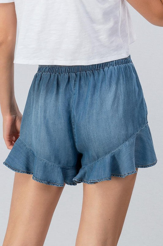 Everleigh Ruffle Denim Shorts