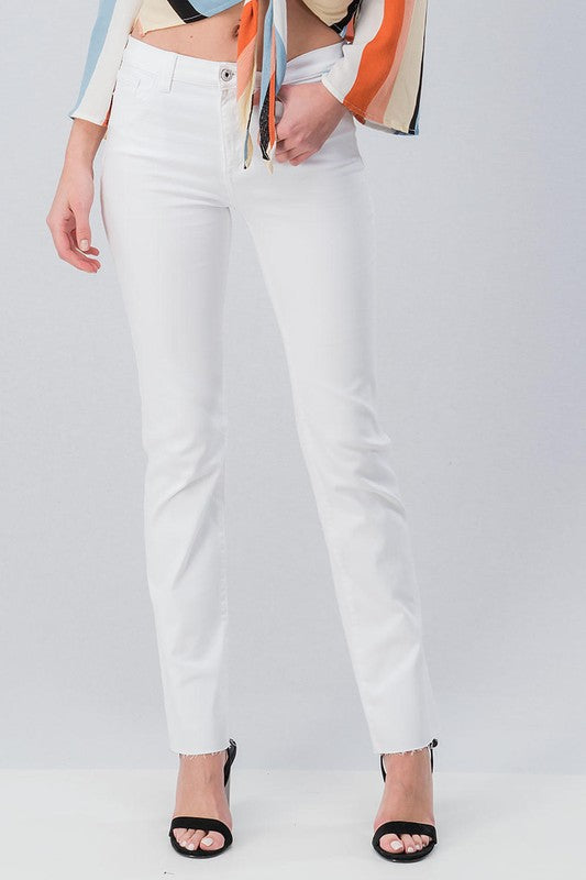 White Raw Hem Pants