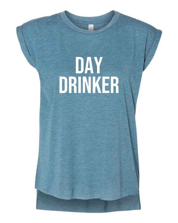 Day Drinker Rolled Cuff Muscle Tank
