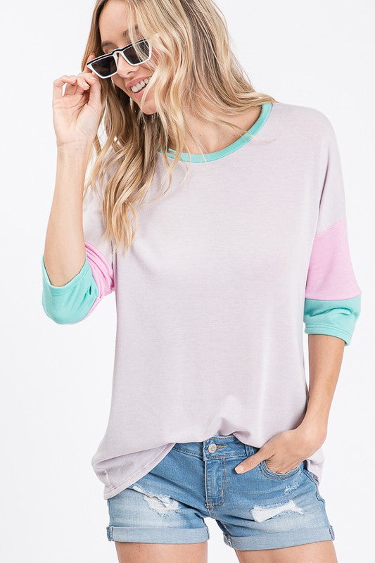 Cadence 3/4 Sleeve Colorblock Top