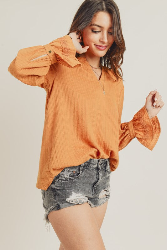 Banded Ruffle Blouse