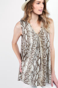 Snakeskin V-neck Top